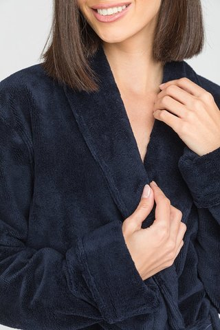 NATUREL 908 синий бамбуковый  женский халат  PECHE MONNAIE  Россия
