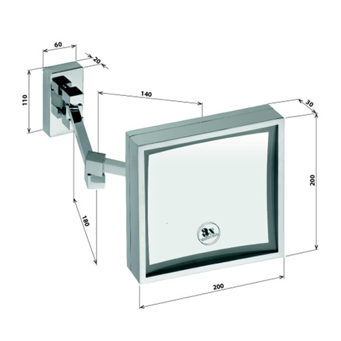 Косметическое зеркало настенное квадратное   Bemeta 20 см. (с подсветкой)