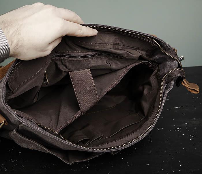 BAG474-2 Мужская сумка портфель из кожи и ткани фото 11