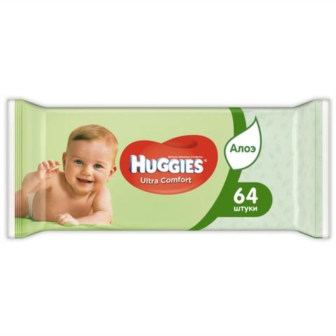 Салфетки влажные HUGGIES Ultra Comfort Алоэ 64 шт ВЕЛИКОБРИТАНИЯ