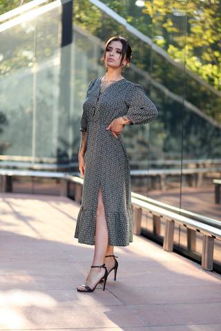 Зеленое платье с длинными рукавами купить
