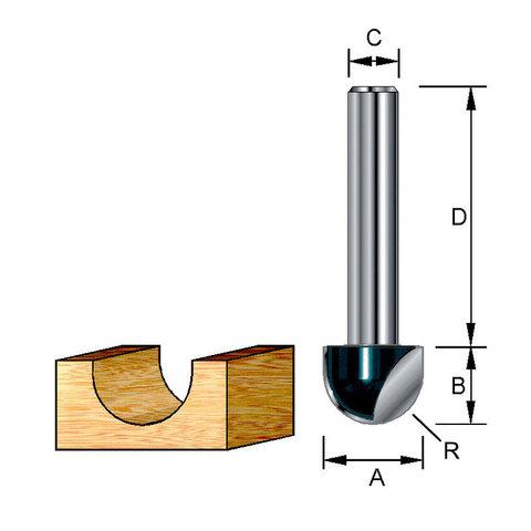 Пазовая галтельная фреза 12,7х32х9,5х8 мм; R=6,5 мм