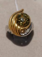 Сирена -зеленый кольцо из серебра)