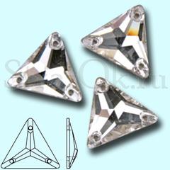 Стразы пришивные стеклянные Triangle Crystal, Треугольник Кристал, прозрачный яркий на StrazOK.ru