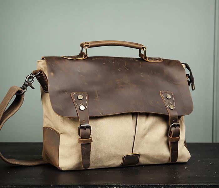 BAG474-3 Легкий мужской портфель из кожи и ткани