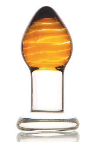 Стеклянная анальная пробка-стимулятор - 9 см.