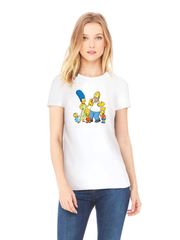 Футболка с принтом мультфильма Симпсоны, Барт, Мардж, Гомер, Лиза, Мэгги (The Simpsons) белая w002
