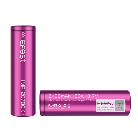 Аккумулятор 20700 Efest Li-Mn 3.7V, 3100mAh, 30A