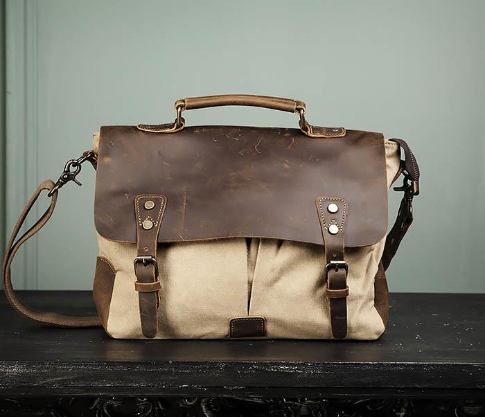 BAG474-3 Легкий мужской портфель из кожи и ткани фото 02