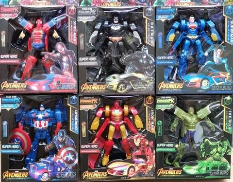 Набор трансформеров Человек паук, Бэтмен, Супер-мэн, Капитан Америка, Железный человек, Халк