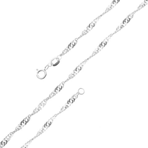 Серебряная цепочка 40 см плетение Сингапур