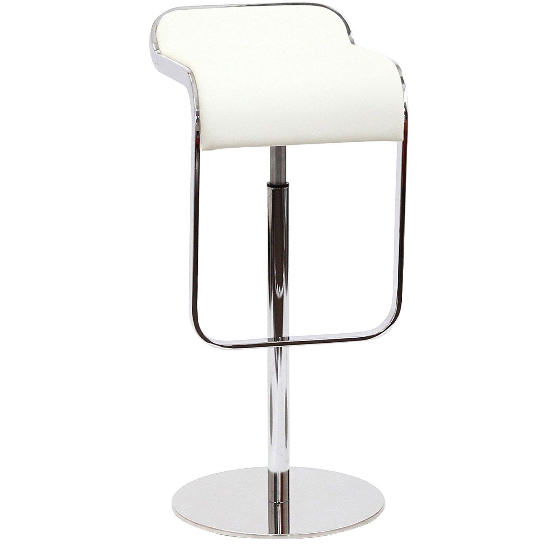 Барный стул LEM  Style Piston Stool белая кожа - вид 1