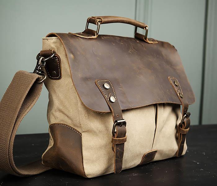 BAG474-3 Легкий мужской портфель из кожи и ткани фото 03