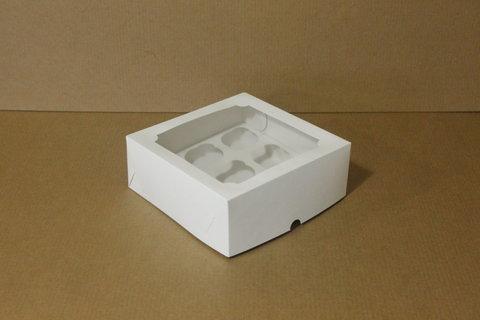 Коробка для 4 капкейков 16*16*10 с окном, белая