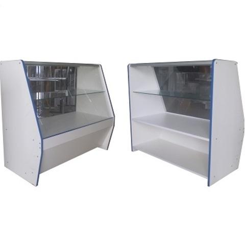 Прилавок ПП-4 (1000мм) наклонный ЛДСП/стекло, кромка синяя