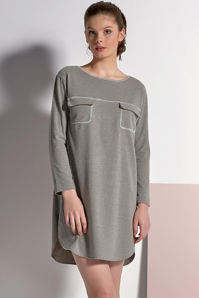 Серое платье-туника с люрексом Rebecca & Bros