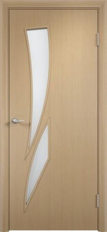 Дверь Сибирь Профиль Стрелиция (С-2), цвет беленый дуб, остекленная