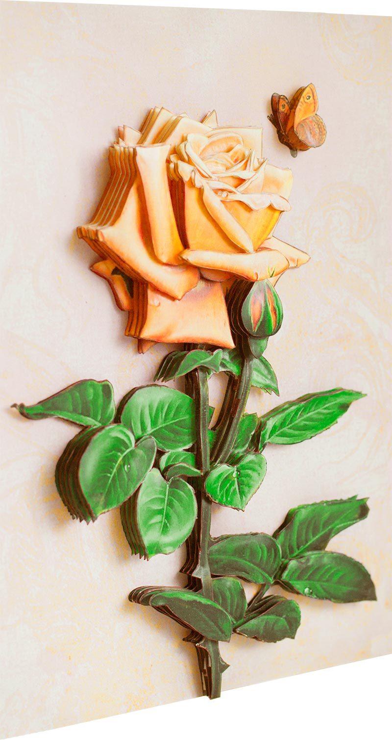 Папертоль Винтажная роза — собранная модель, вид сбоку.