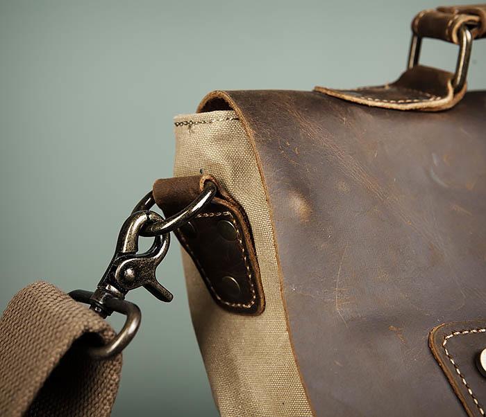 BAG474-3 Легкий мужской портфель из кожи и ткани фото 04