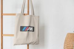 Сумка-шоппер с принтом BMW (БМВ) бежевая 006