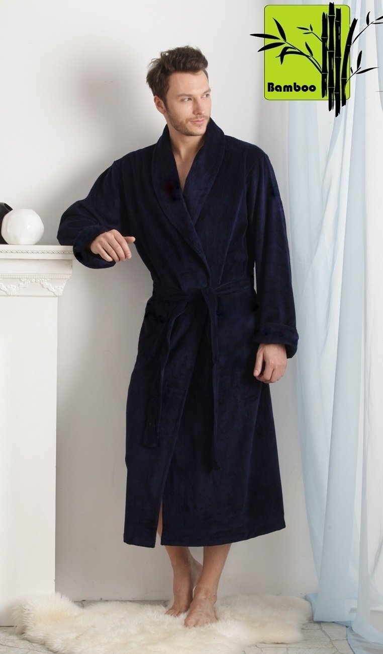 Махровые мужские халаты NATUREL арт.908 темно-синий  бамбуковый  мужской халат  PECHE MONNAIE  Россия 908.jpg
