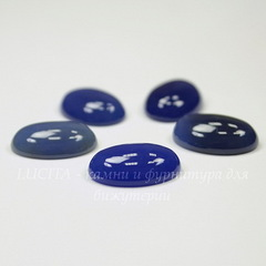Кабошон овальный Агат сине-голубой (тониров), 18х13 мм