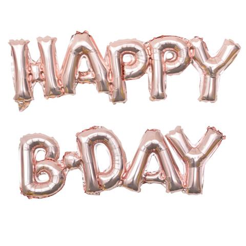 Растяжка из шаров: Буквы из фольги - С днем Рождения, Happy B-Day, розовое золото