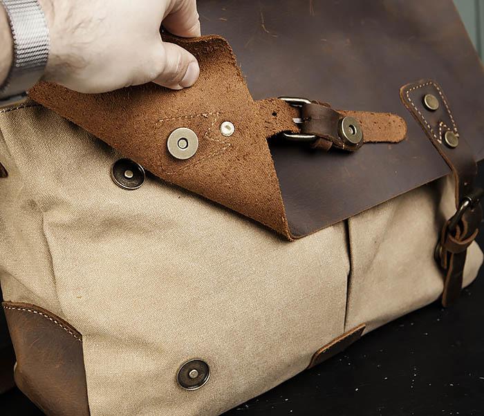 BAG474-3 Легкий мужской портфель из кожи и ткани фото 05