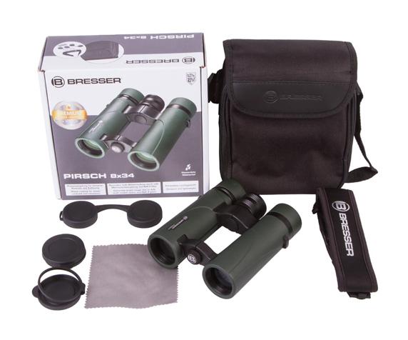 Бинокль Bresser Pirsch 8x34 - комплект поставки, сумка-чехол, гарантийный талон