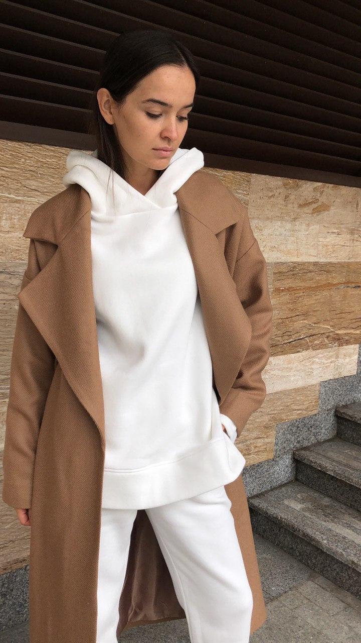 Пальто с большим лацканом, кэмел диагональ