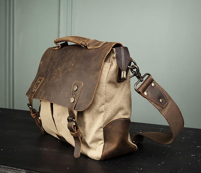 BAG474-3 Легкий мужской портфель из кожи и ткани фото 06