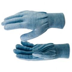 Перчатки трикотажные, акрил, цвет зенит, двойная манжета Россия Сибртех