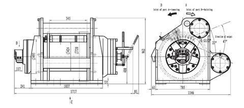 Гидравлическая лебедка ISYJ67-400-70-33-ZPL для буровой установки (схема)