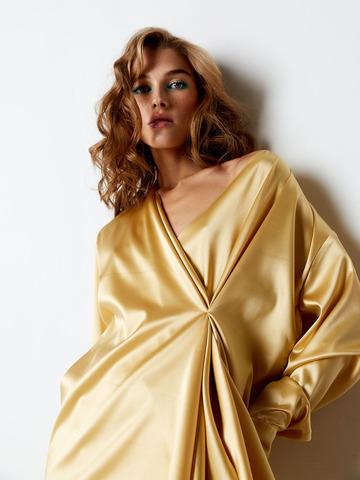 Блуза асимметричного кроя из шелка желтый