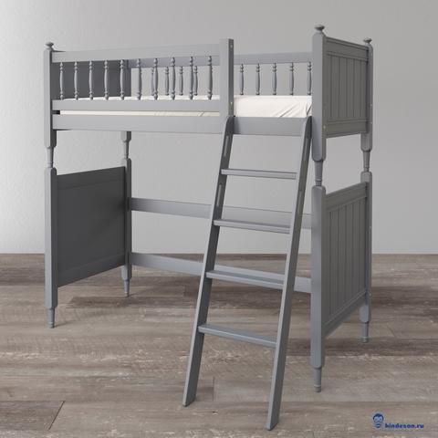 Высокая кровать-чердак в классическом стиле для детей подростков. Базовая комплектация.