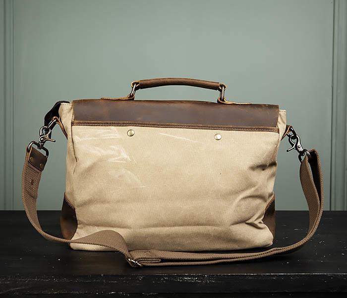 BAG474-3 Легкий мужской портфель из кожи и ткани фото 07