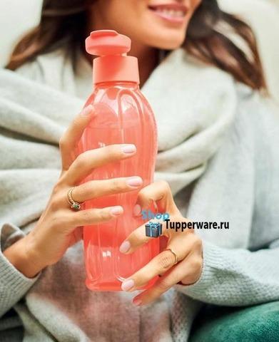 Бутылка Эко (500 мл) в коралловом цвете с клапаном