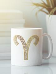 Кружка с изображением Знаки Зодиака, Овен (Гороскоп, horoscope) белая 002