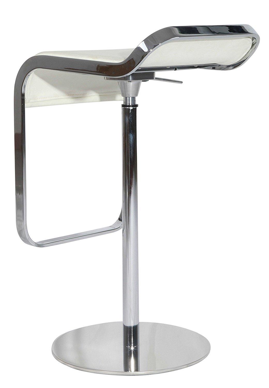 Барный стул LEM  Style Piston Stool белая кожа - вид 5