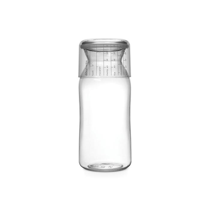 Пластиковая банка с мерным стаканом (1,3 л), Прозрачный, арт. 290220 - фото 1