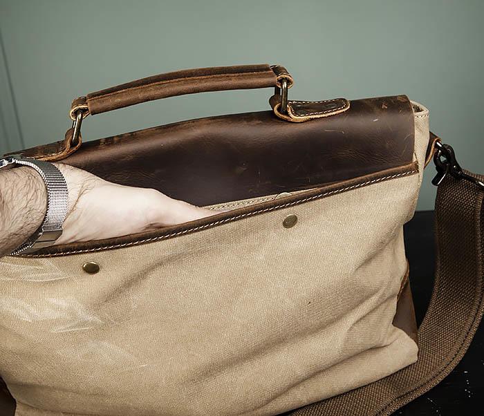 BAG474-3 Легкий мужской портфель из кожи и ткани фото 08