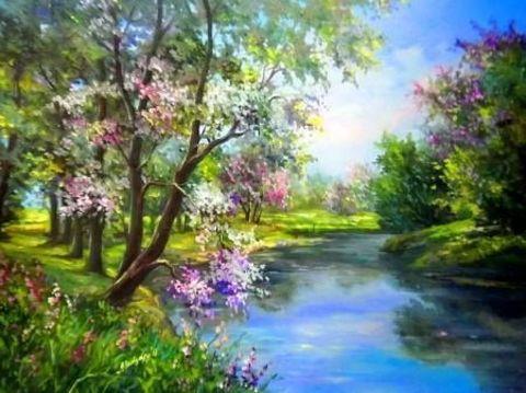 Картина раскраска по номерам 40x50 Цветущие деревья над рекой