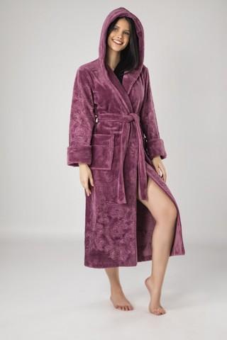 Халат женский махровый с капюшоном Artemida 8655 фиолетовый NUSA Турция