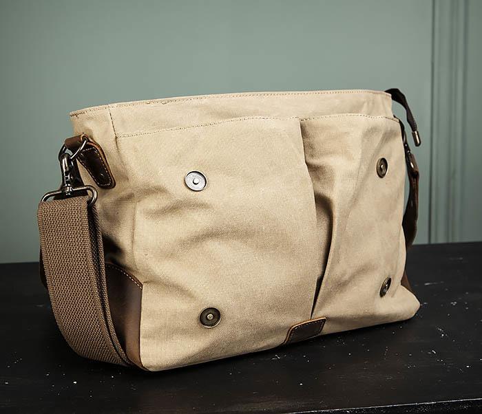 BAG474-3 Легкий мужской портфель из кожи и ткани фото 09