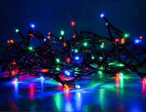LED разноцветная гирлянда нить 10 метров с последовательным соединением между собой