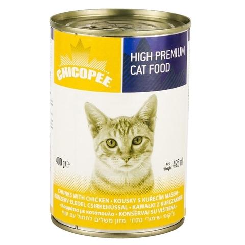 Chicopee Cat Chunks Chicken консервы для кошек всех возрастов с кусочками курицы в соусе - 400 гр х 24 шт 0,4 кг