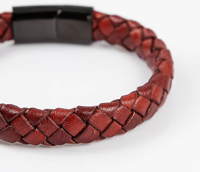 BM514-3 Плетеный мужской браслет из красной натуральной кожи фото 04