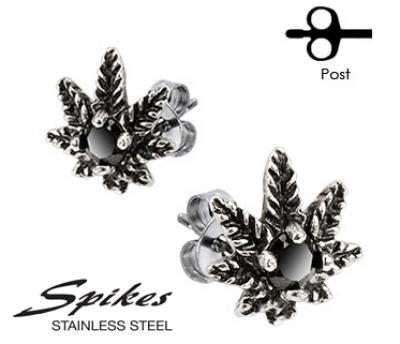 SSEM-140 Стальные серьги в виде листка растения с черным камнем