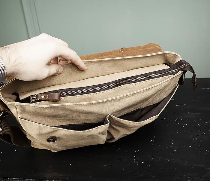 BAG474-3 Легкий мужской портфель из кожи и ткани фото 10