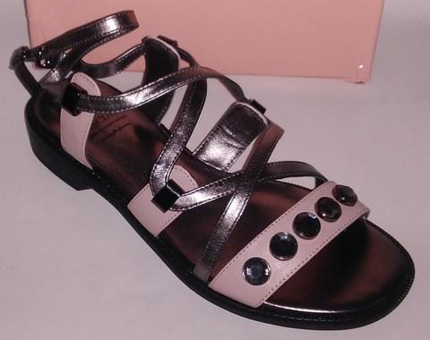 Пудровые  сандалии с серебрянными вставками из натуральной кожи в греческом стиле